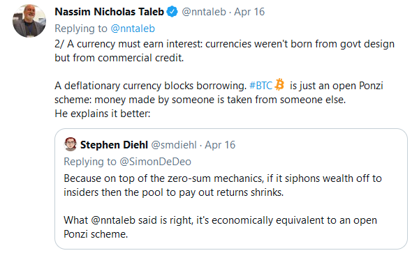Taleb's criticism of Bitcoin.